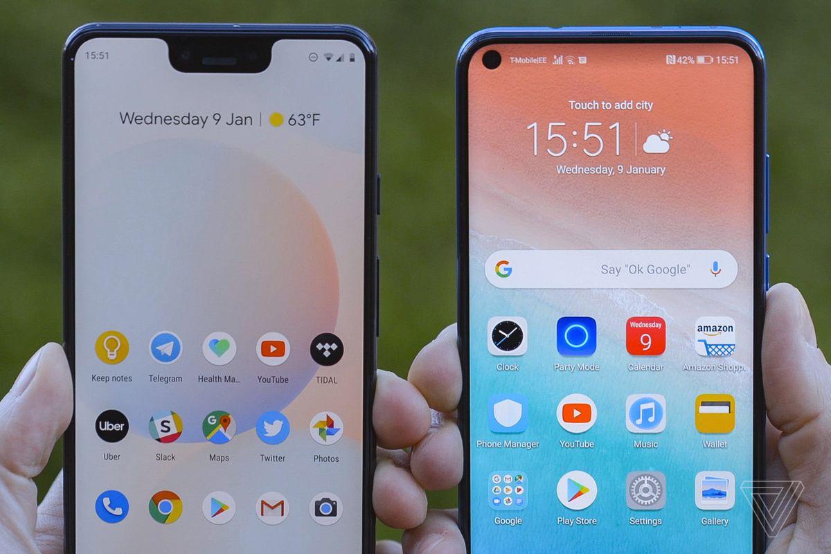 Pixel 3 XL (left) next to Huawei View 20.