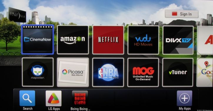 LG's Smart TV user interface, right side