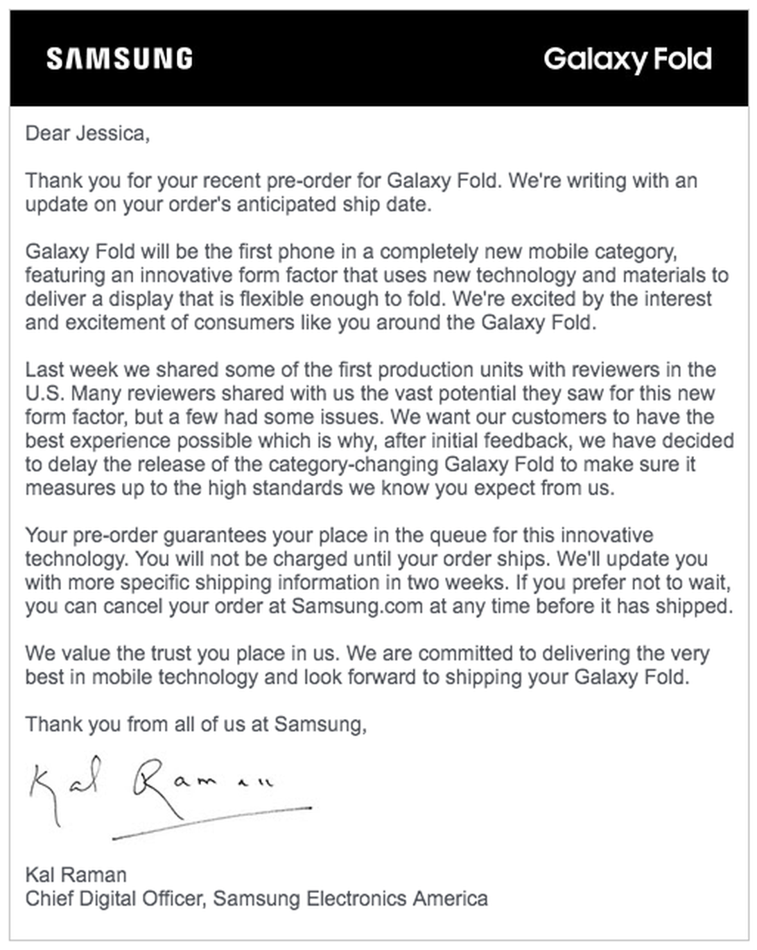 Galaxy Fold - Samsung email to preorder customers