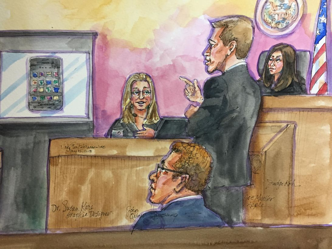 Susan Kare, creator of the icons on the original Macintosh, testifies for Apple at a trial to determine Samsung patent infringement damages.