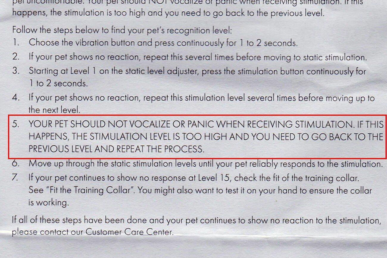 Dog shock collar warning
