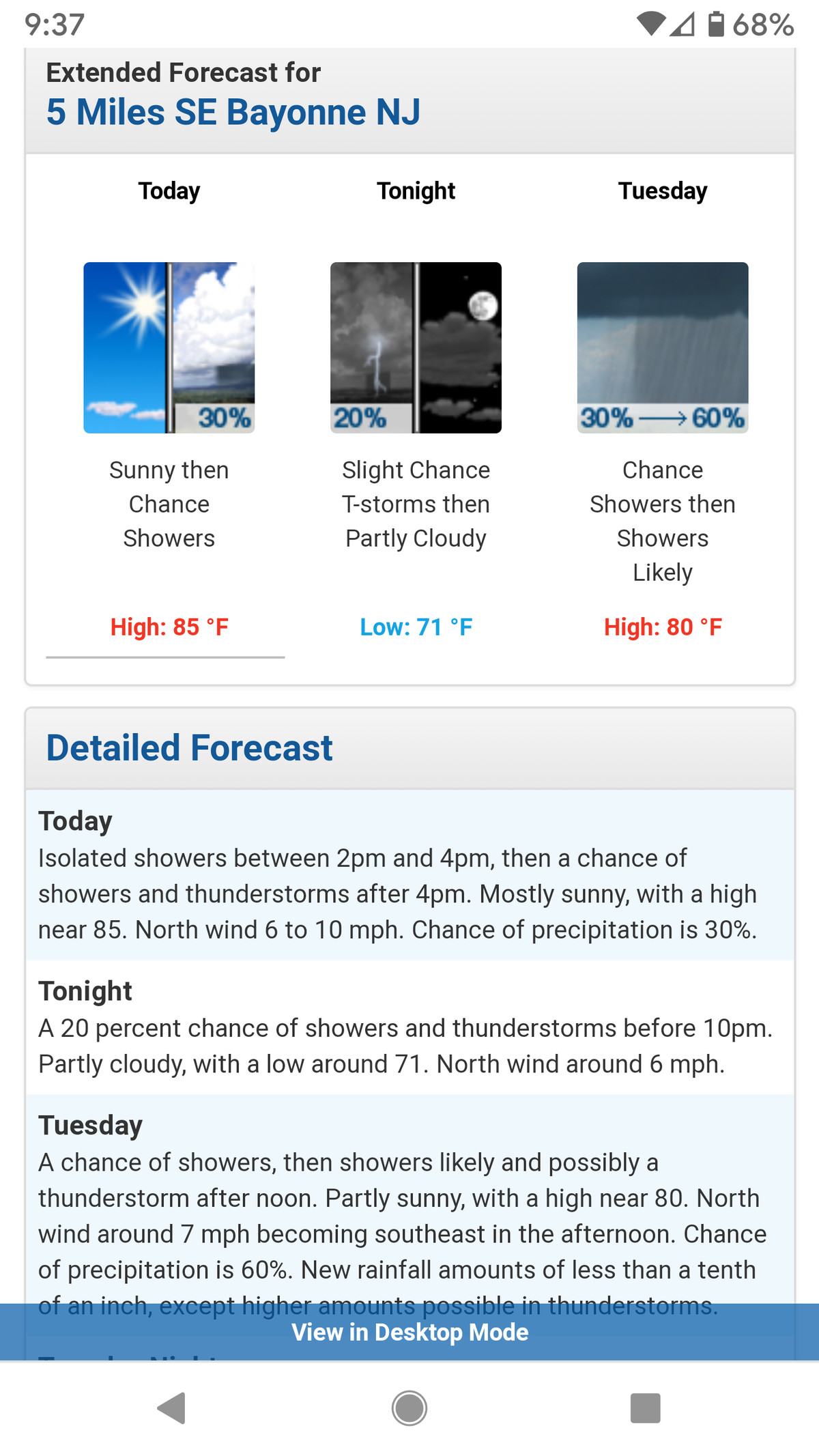 The weather.gov site can be placed directly on your phone's home screen.