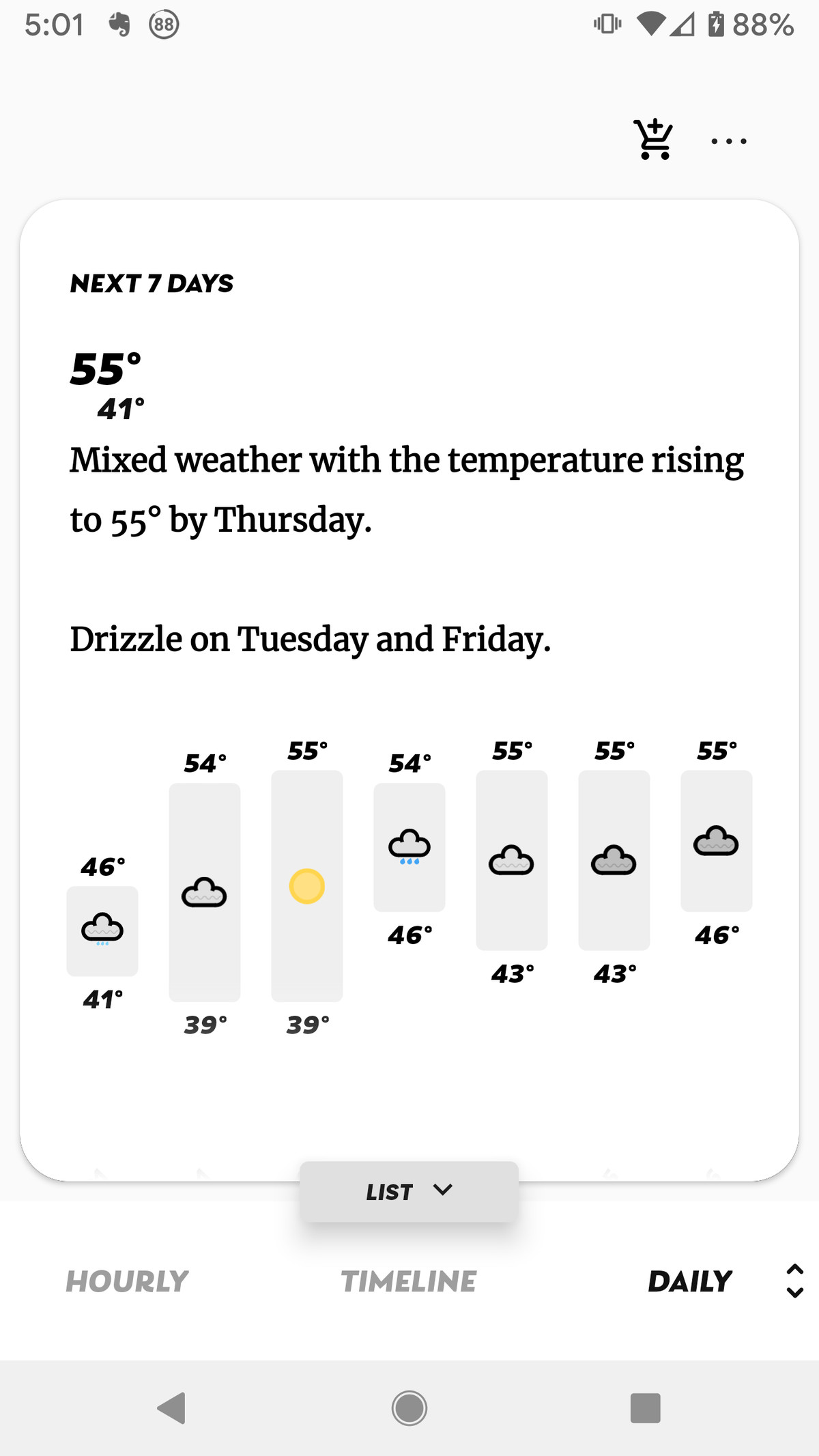 """Scroll from left to right at the bottom to see the temperature, """"feels like,"""" precipitation, etc."""