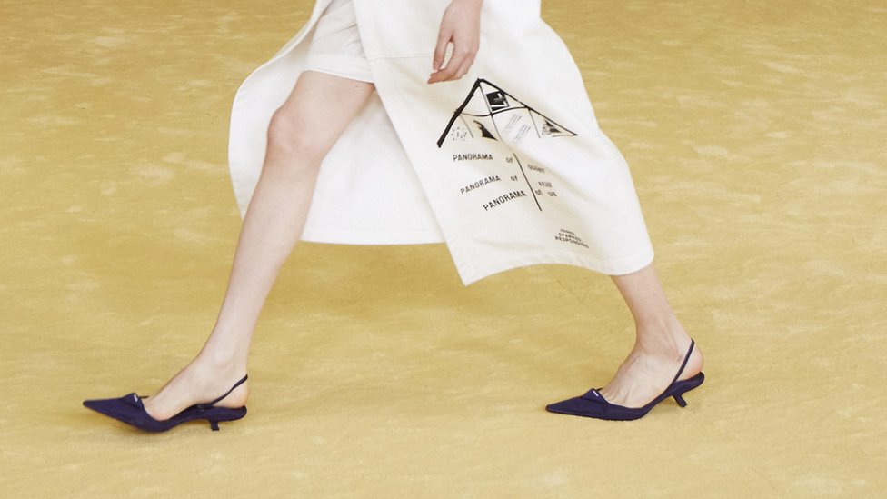 Flat shoes at Prada catwalk in Milan Fashion Week 2021